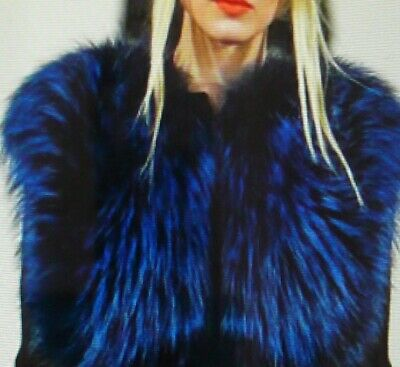 STUNNING DYED SILVER FOX FUR  VEST in ROYAL BLUE SHADE Top Quality MEXA