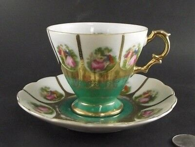 Saji Love Story Green With Gold Japan  Cabinet Tea Cup And Saucer