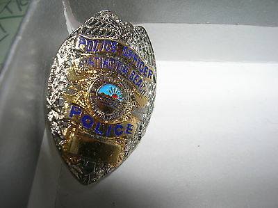 HUNTINGTON BEACH CA Police Officer Mini Gold & Silver Badge Pin Tie Tac NEW