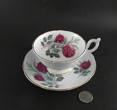 Heather Red Rose Inside And Two Colors Blue Footed Cabinet Tea Cup And Saucer