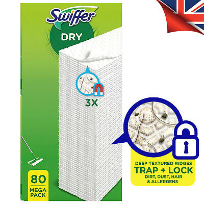 Swiffer Sweeper: 80 Dry Cloth Sweeping Refills, 3D Cotton Microfibre - UK STOCK