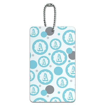 Luggage Card Suitcase Carry-On ID Tag Letter Initial Flower Blue