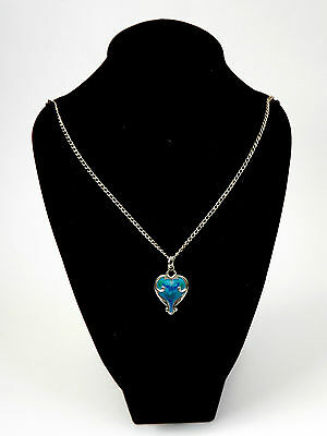 "Antique Art Nouveau Silver & Enamel Pendant With 20"" Chain - Chester 1908"