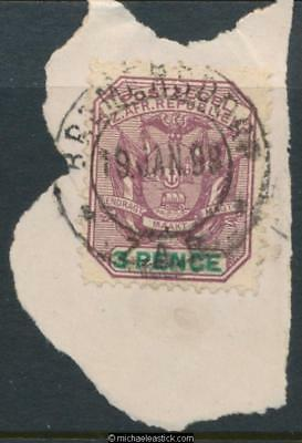 Swaziland SG Z34 3d on piece, Bremersdorp 19-01-1898