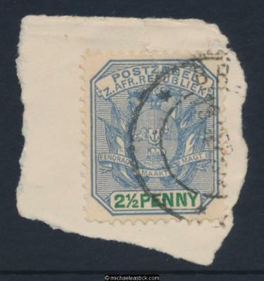 Swaziland SG Z33 2½d on piece, Bremersdorp