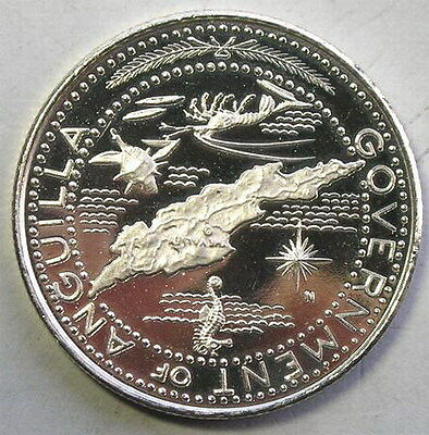Anguilla 1969 Sealife Map Dollar Silver Coin,Proof