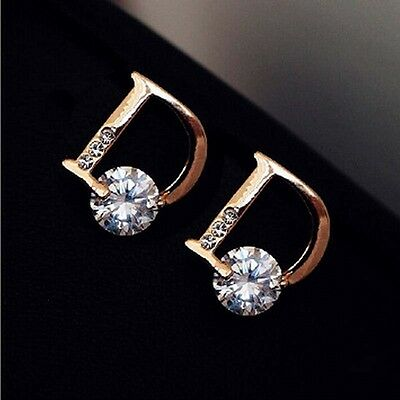 Fashion Gold Ear Stud Earings Letter D Chic Vogue Stud Earrings Women Jewelry CC