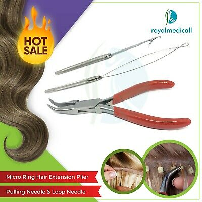 Micro Rings Loop Hair Extensions Pliers Hook Tool Kit WITH BENDED PLIER UK