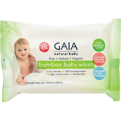 Gaia Natural Baby Bamboo Baby Wipes 20s   Alcohol Free, 100% biodegradable