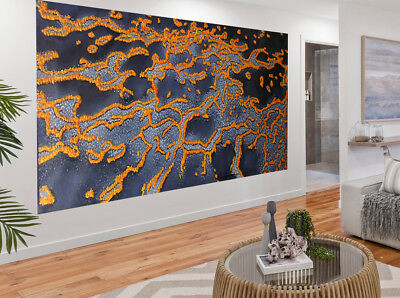 Huge  original modern art painting the golden reef  Australia not aboriginal COA