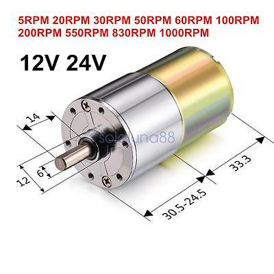 DC 12V 24V 30RPM 60RPM 100RPM Gear Box Motor Speed Reduction Electric Gearbox