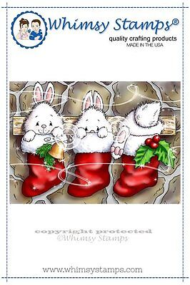 Whimsy Stamps - Cling Mounted Rubber Stamp - Christmas Bunny Stockings