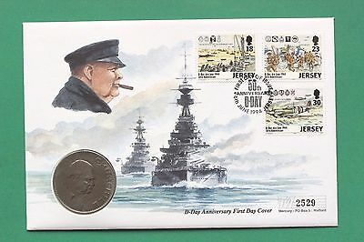 1994 - British - D Day - Jersey Stamps & Churchill Crown - Coin cover - SNo42689
