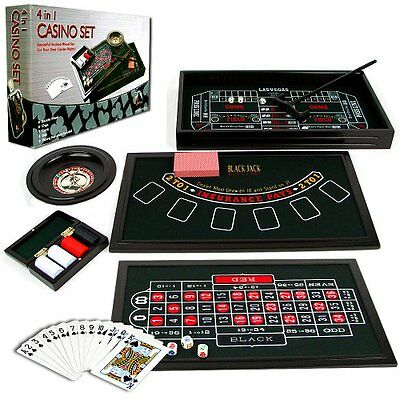 Casino Game Table Roulette Crap Poker Blackjack Set Hobby Play Wheel Collectible