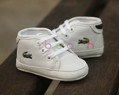 Newborn Baby Boy Girl Pre-Walker White Soft Sole Crib Shoes Seankers 0-18 Months