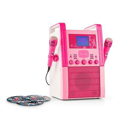 Karaoke Anlage Sound System Box Musik Cd Player Aux Karaoke Cd+G 2X Mikros Pink