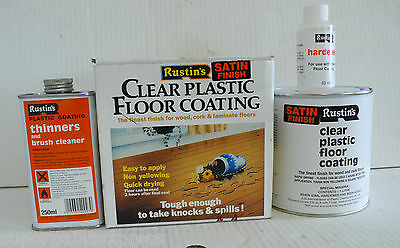 Rustins 1L Clear Plastic Floor Coating Kit Satin 1 Litre