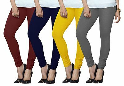 Wholesale Lot of 4 Pcs Indian Women Churidaar Legging Cotton Stretch Yoga Pants