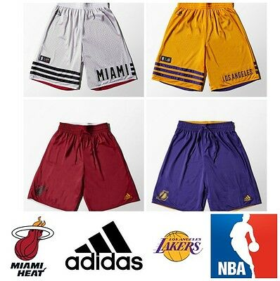 Adidas Basketball Shorts Mens Reversible Long Fitness Short LA Lakers Miami NBA