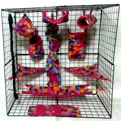 Ditzy Camo *15 PC Sugar Glider Cage set *Rat * double layer Fleece