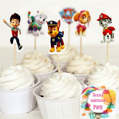 48pcs Paw Patrol Hot Puppy Baby Birthday Decoration Cupcake Toppers Party