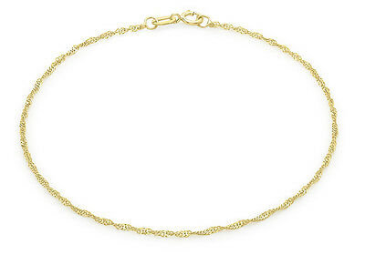 9ct Yellow Gold 16 Twist Curb Chain Anklet 23cm/9'