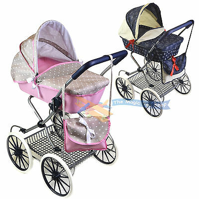Cambridge Style Dolls Pram Stroller with Storage Basket and Carry Bag Girl Buggy