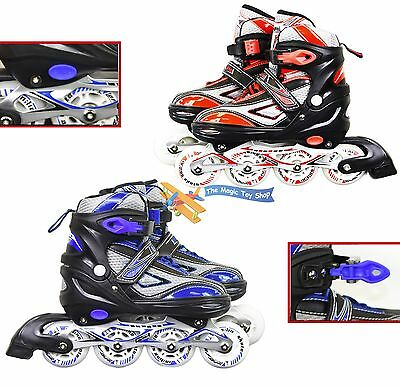 4 Wheels Adjustable Inline Roller Skates Blades Childrens Adults Kids Boys Girls