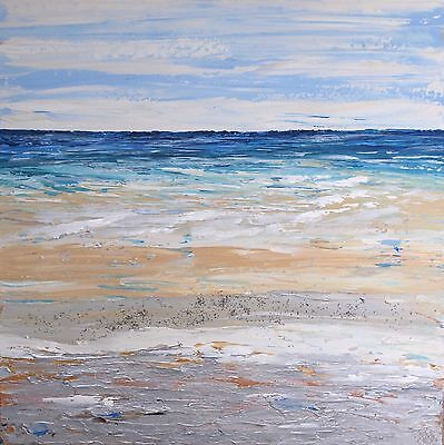 ORIGINAL ACRYLIC PAINTING ON CANVAS. ABSTRACT SEASCAPE CONTEMPORARY ART 60x60cm