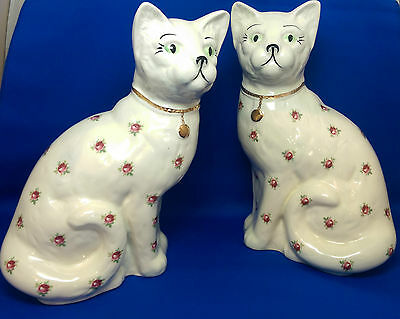 Rarely Available - ARTHUR WOOD - PAIR OF STAFFORSHIRE CATS / ROSE pattern - VGC