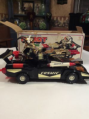 Vintage BATTERY OPERATED Robot Cosmic Raider Force Multi Action Car