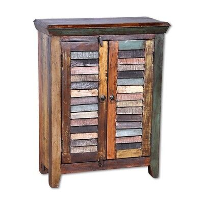 """Set of 2 - 36"""" H Night stand reclaimed wood hand crafted two door unique design"""