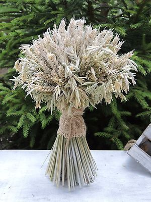 """Dried Flowers Bouquet Wheat & Oat Sheaf Natural Table Decoration 12"""""""