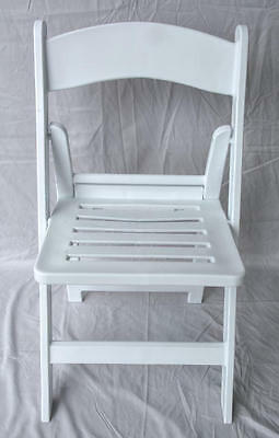 4 New Folding Chairs Party Event Commercial White Resin Chair w/Slatted Seat