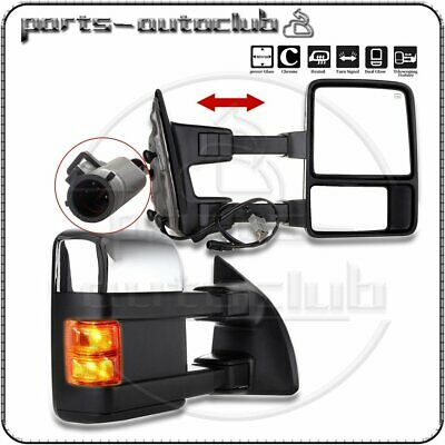1999-07 Ford F250 Power Heated Led Smoke Signal Chrome Towing Side Mirrors Pair