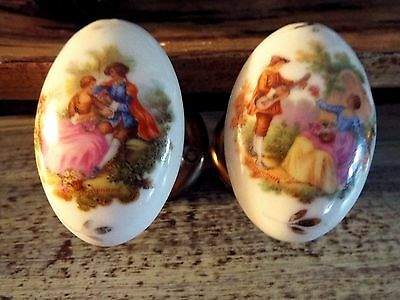 RARE VTG Signed Fragonard Limoges Porcelain Courting Couple Door Knobs FREE SHIP