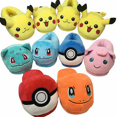 Pokemon Soft Plush Slippers Warm Indoor Home Shoes Pikachu Costume Xmas Gift New