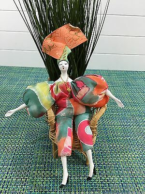 Rigodon Poupee ORANGE Doll Vintage Made in France by Marie Paule with CHAIR