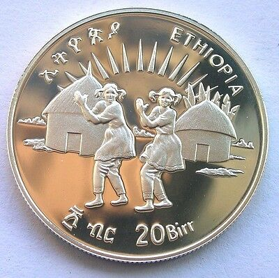 Ethiopia 1998 Save Childern 20 Birr Silver Coin,Proof, Rare!