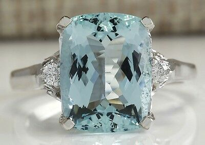 4.60Ctw Natural Aquamarine And Diamond Ring In 14K Solid White Gold