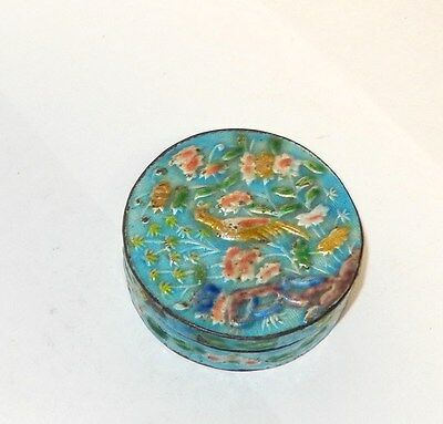 Old Chinese Bird Design Cloisonne Repousse Blue Enamel Humidor Opium Box