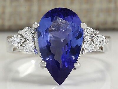 3.39 Ctw Natural Blue Tanzanite And Diamond Ring In 14K White Gold