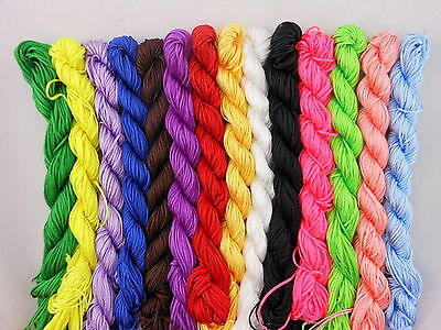 1mm 2mm Candy Color Premium Nylon Macrame Cord Thread for DIY Jewelry Making