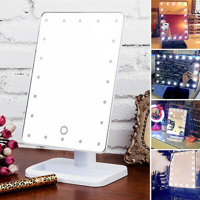 Pro Portable Cosmetic Make up 20 LED Light Touch Screen Vanity Tabletop Mirror