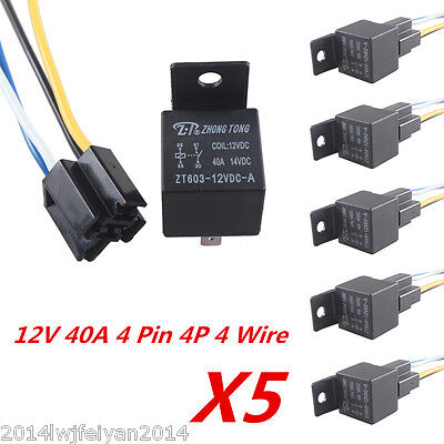 5 X Universal Car Truck Auto 12V 40A SPST Premium Relay & Socket 4Pin 4P 4 Wire