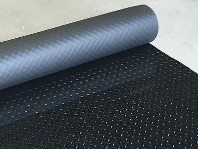 2 colours, 15 Sizes of 2m Wide Checker Plate PVC Rubber Garage Flooring Matting