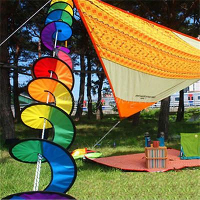 Colorful Rainbow Spiral Windmill Wind Spinner Camping Tent Home Garden Decor New