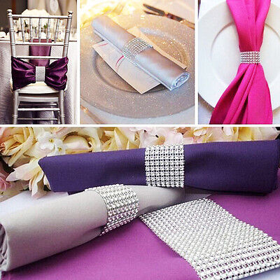 100pcs Bling Diamond Rhinestone Mesh Wrap Napkin Ring Chair Band Wedding Decor
