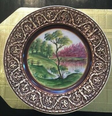 12 Antique Crown Devon Fieldings & Co Hand Painted Landscape Scene Dinner Plate