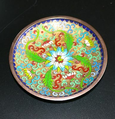 Chinese Cloisonne Small Shallow Dish Plate With RaisedEnamelle